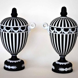 Wedgwood - Pair Wedgwood black and white Jasperware