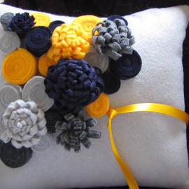 etsy - wedding rolled rose and mum ringpillow