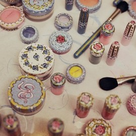 MAC - Decorated MAC cosmetics backstage at Meadham Kirchhoff spring/summer 2013.