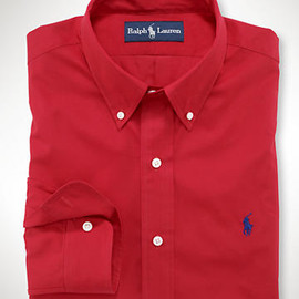 RALPH LAUREN - Custom-Fit Sueded Broadcloth   Park Avenue Red