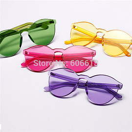 sunglasses - New Jelly  Colorful Coating  Rimless Sunglasses