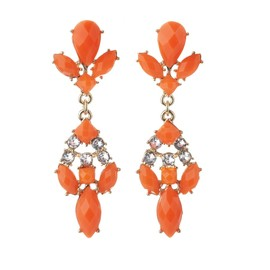 diva - Orange Stone & Diamante Drop Earrings