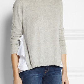 miu miu - Ruffle-back cotton sweater