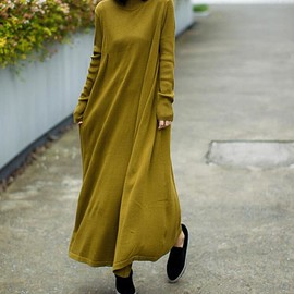 loose fitting dress - Solid color Long Maxi dresses, Loose knitted dress, Long sleeve dress, Grass green Sweater dress