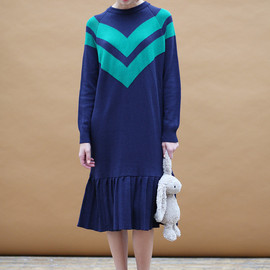 THE WHITEPEPPER - Limited Edition: Stripe Frill Hem Knit Jumper Dress Navy