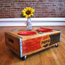 summerofseventy  - UPCYCLED - Vintage Pepsi Crate Pet Feeder