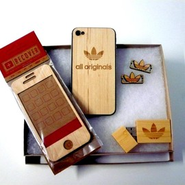 adidas originals - A wood carved adidas Originals iPhone cover, USB stick and lace locks.