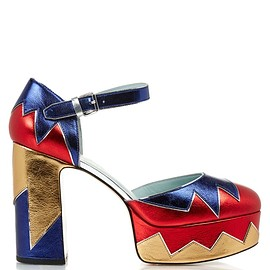 MARC JACOBS - SS2016 Victoria tri-colour platform pumps