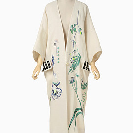 mame - Embroidered Pongee Coat - beige