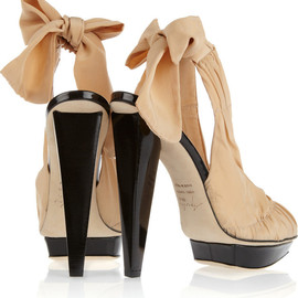 Aperlai - Bow-detailed silk slingback pumps