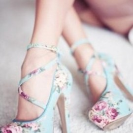 pale blue heels with a pink floral patter and a ballerina crisscross.