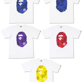 A BATHING APE - ZOOM COLOR CAMO BIG APE HEAD Tシャツ