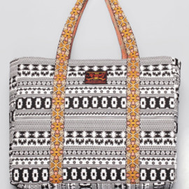 bluespot - 【KRAVITZ】Ethnic Pattern Tote Bag(BLACK)