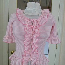 MILK - MILK pink X white border short-sleeved cardigan bolero