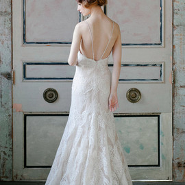 wedding dress french alencon lace back view train