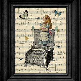 Alice In Wonderland On A Music Box With Butterflies On Antique Sheet Music Art Print