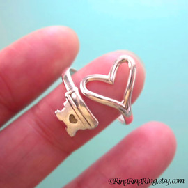 RingRingRing.etsy.com - Adjustable heart key ring jewelry,  925 sterling silver ring