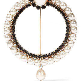 GIVENCHY - Brooch in gold-tone, faux pearl and crystal