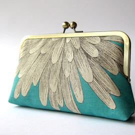 Chrysanthemum - silk lined aqua floral clutch
