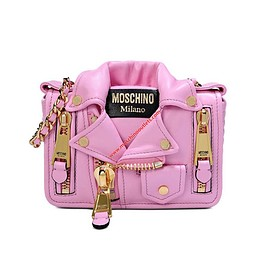 Moschino - Moschino Biker Jacket Women Small Leather Shoulder Bag Pink