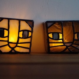 "Stainedgracias - ""Mini Akari"" A17 stained glass lamp - Gray Cat"