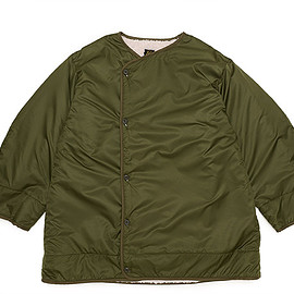 NEEDLES - Reversible Lining Coat-Poly Rip/Pile-Olive×Off