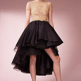 Reem Acra - Reem Acra Reembroidered Lace & Organza High Low Dress
