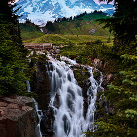 Mount Rainier National Park - Myrtle Falls at Sunset