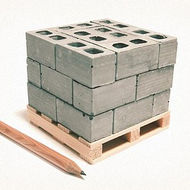 Mini Materials - 1:12 Scale Miniature Cinder Blocks - 24PK with Pallet