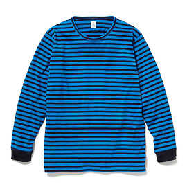 HEAD PORTER PLUS - BORDER L/S TEE BLUE