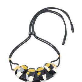 MARNI - Resort2015 Leather Covered Choker With Stone Bib