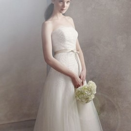 White by Vera Wang - Organza Gown with Fern Embroidery and Net Overlay