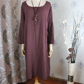 Cotton dress - Maternity Clothing, Loose Fitting Long gown, asymmetrical dress