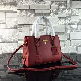 PRADA - Prada 1BD067 Calfskin Leather Top-Handle Bag In Burgundy