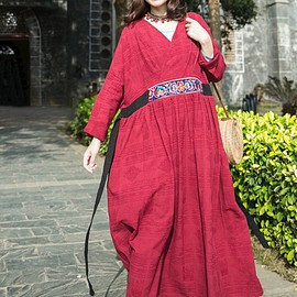 dress a dress - Women Maxi dress, longsleeve dress, Cotton linen Long robe, Maternity Clothing, Tunic dress