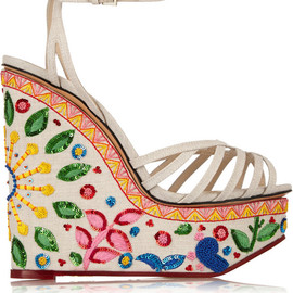 Charlotte Olympia - Celebration Meredith embellished linen sandals