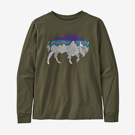 patagonia - Boys' Long-Sleeved Graphic Organic Cotton T-Shirt - Back for Good Bison: Basin Green (BGBG)