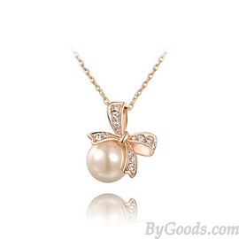 Sweet Inlay Crystal Bow Pearl Pendant Necklace