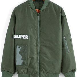 Romwe - Letter Print Zipper Army Green Jacket