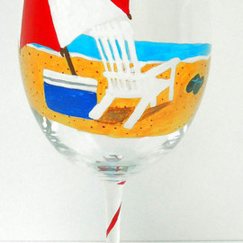 pendragon art works - Beach Wine Glass