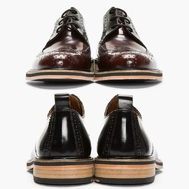 AMI - Brown Bicolored Glazed Leather Wingtip Brogues