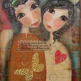 Luulla - SISTERS- We all have ROOTS 5x7 ART card print