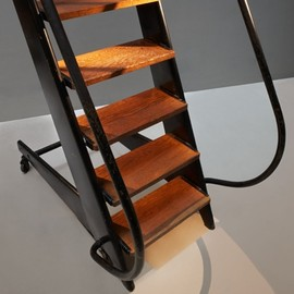 Jean Prouvé - stairs for bookshel, steel & oak, ca 1950