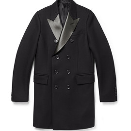 GUCCI - LEATHER-COLLAR WOOL PEACOAT