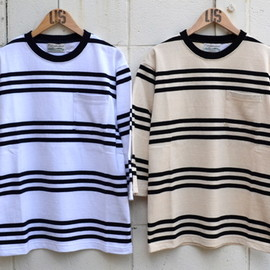 Columbia Knit×US - 3/4 Sleeved Pocket Border Tee