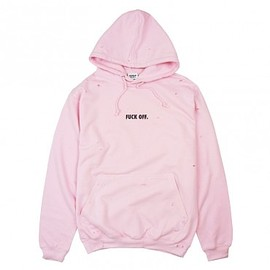 Human With Attitude - FUCK OFF DISTRESS HOODIE - ROSE
