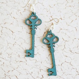 Ruche - Key To The Past Wooden Indie Earrings