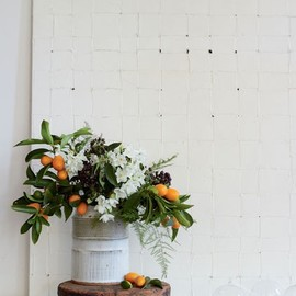 citrus branches in a bucket