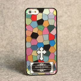 Color Block Religious Print Phone Shell Case for iphone5/4