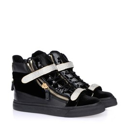 Giuseppe Zanotti - Black Patent Leather Women's High-Top Sneakers